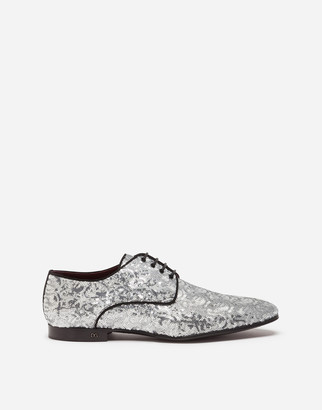 Dolce & Gabbana Suede Derby Shoes With Sequin Embellishment
