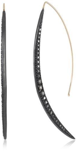 Mizuki 14Kt Long Shadow Silver Sliding Crescent Diamond Earrings (1.16Ct)