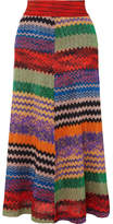 Missoni Metallic Crochet-knit Midi Skirt - Red