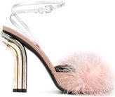 Marco De Vincenzo fur detail sandals - women - Artificial Fur/Calf Leather/Leather - 36