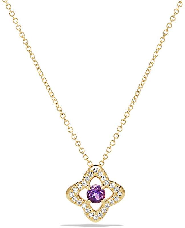 David Yurman Venetian Quatrefoil Necklace with Amethyst and Diamonds in 18K Gold