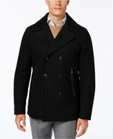 MICHAEL Michael Kors Men's Faux-Leather-Trim Wool Blend Peacoat