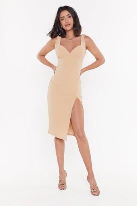 Nasty Gal Womens Plunge Down Midi Dress - Beige - 4