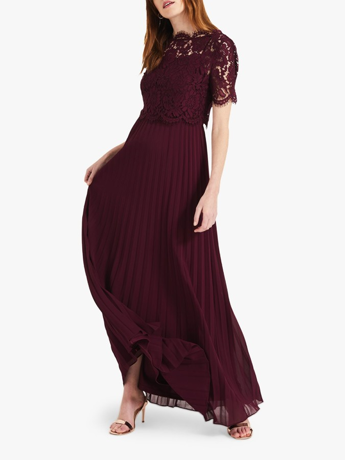 Phase Eight Elisabetta Lace Overlay Maxi Bridesmaid Dress, Berry