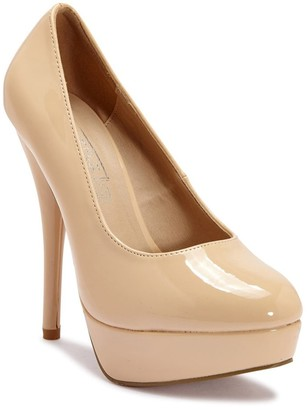 PeepToe Linzi Truffle Collection Nude Patent Peep-Toe Platform High Heels