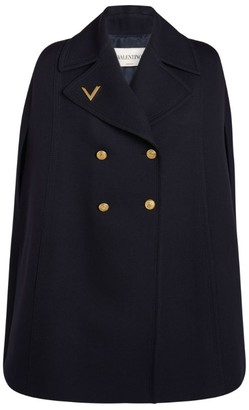 Valentino Double-Breasted Wool Cape