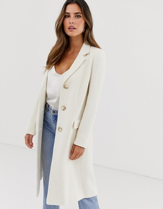 Helene Berman College coat with mock tortoiseshell buttons-Cream