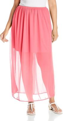 Star Vixen Women's Plus-Size Chiffon Skirt with 17 Inch Lining