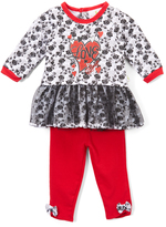 Red & White Floral 'Love' Peplum Top & Leggings Set - Infant