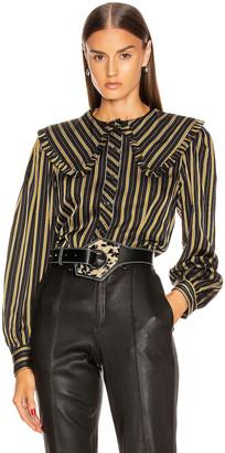 Ganni Viscose Stripe Top in Black   FWRD