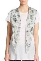 Alexander McQueen Skull & Floral Print-Silk Scarf