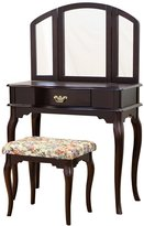Frenchi Home Furnishing Queen Anne Style 3-Piece Vanity Set with Stool, Espresso Finish
