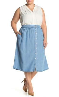 Catherine Malandrino Button Front Tencel Midi Skirt (Plus Size)