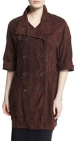 Brunello Cucinelli Double-Breasted 3/4-Sleeve Suede Coat, Henna