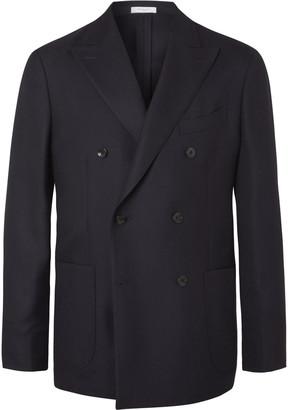 Boglioli Black Unstructured Double-Breasted Virgin Wool-Hopsack Blazer