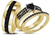TVS-JEWELS Engagement Bridal & Wedding Band Ring Set 925 Sterling Silver Gold Plated