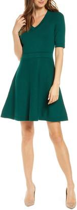 Eliza J Pointelle Fit & Flare Sweater Dress