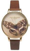 Olivia Burton 'Woodland Butterfly' Leather Strap Watch, 38mm