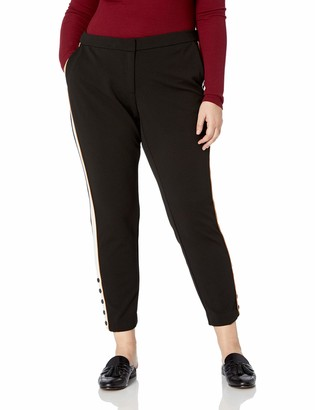 Calvin Klein Women's Plus Size Pant with Contrast Stripe and Button