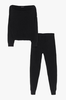 Nasty Gal Womens So Easy Knitted Joggers Lounge Set - Black - S
