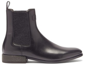 Brunello Cucinelli Monili-chain Leather Chelsea Boots - Black