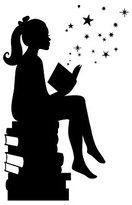 Girl Reading Books Magic - Facing Right, Small, Black - Vinyl Wall Art Decal for Homes, Offices, Kids Rooms, Nurseries, Schools, High Schools, Colleges, Universities
