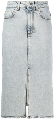 MSGM Logo Print Denim Skirt