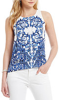 Daniel Cremieux Maya Crew Neck Sleeveless Printed Blouse