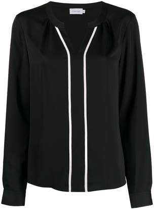 Calvin Klein contrast piped blouse
