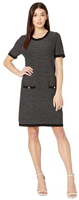 Milly Tweed Knit A-Line Dress (Black Multi) Women's Clothing