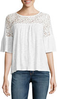 A.N.A a.n.a Lace Trim Bell Sleeve Blouse