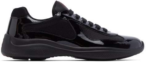 Americas Cup Patent Leather And Mesh Trainers Mens Black Prada Patent Leather America'S Cup Mesh Black Trainers Shoes