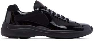 Prada Americas Cup Patent Leather And Mesh Trainers - Mens - Black