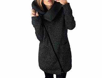Boni caro Womens Lined Zipper Hooded Coat Cardigan Long Ladies Fleece Zip-up Coatigan Winter Long Sleeve Turtleneck Asymmetric Hem Grey Size 10