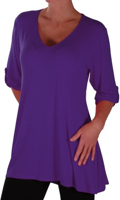 Eyecatch - Shellie Womens Casual V Neck Tunic Ladies Flared Long Top Royal Blue Size 22-24