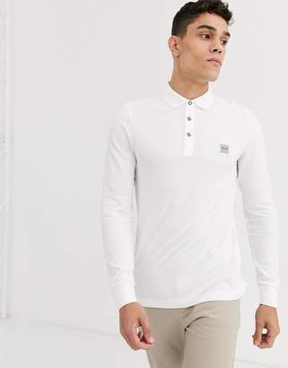 BOSS Passerby slim fit long sleeve logo polo in white