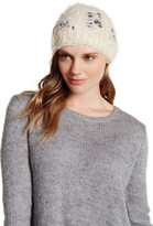 David & Young Fuzzy Knit Embellished Beanie