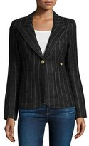 Smythe Duchess Striped Blazer with Suede Trim