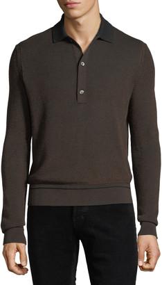 Tom Ford Men's Silk/Cotton Oxford Jacquard Polo Sweater