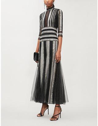 Costarellos Semi-sheer crochet-trim sequin-embellished gown