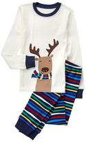 Gymboree White & Blue Reindeer Stripe Pajama Set - Infant Toddler & Boys