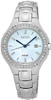 Seiko Womens Crystal-Accent Mother-of-Pearl Solar Bracelet Watch SUT281