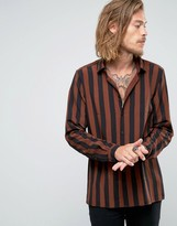 Asos Viscose Shirt In Black And Rust Stripes