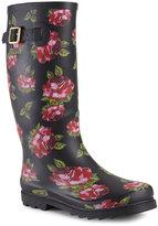 Betsey Johnson Black Floral Drizle Rain Boots