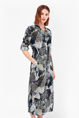 French Connection Lala Palm Maxi Shirt Dress
