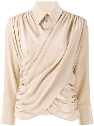 AKIRA NAKA Long Sleeve Draped Front Blouse