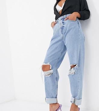 ASOS DESIGN Petite recycled high rise 'slouchy' mom jeans in lightwash with rips