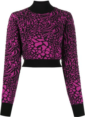 Just Cavalli Leopard-Print Cropped Jumper