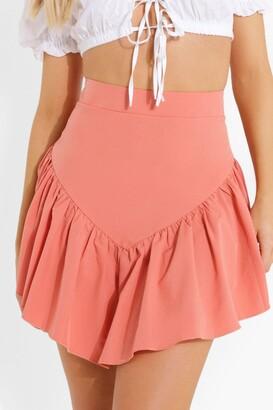 boohoo Frill V-shaped Hem Skater Skirt