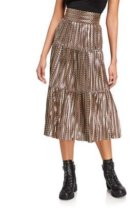 BA&SH Poly Pleated Metallic Midi Skirt